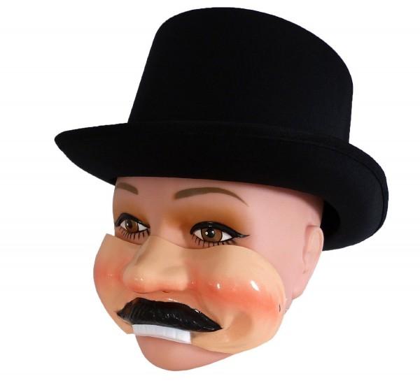 Maske Gentlemen mit Pausbacken und Schnauzbart - Plastewangen mit Gummizug
