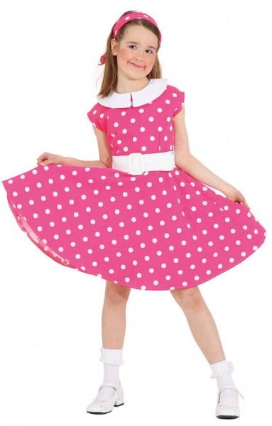 Faschingskostüm Kinder Rock 'n' Roll Kleid - Größe: 128 - 164