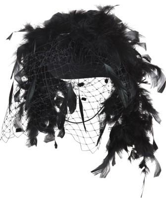 Faschingshut Damen Hut mit Federboa und Netz - Einheitsgröße