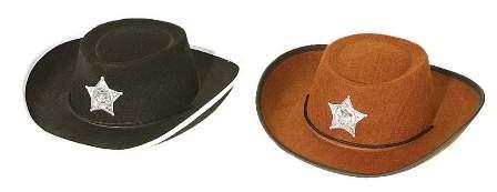 Faschingshut Cowboyhut Kinder - schwarz oder braun - Kopfweite 53