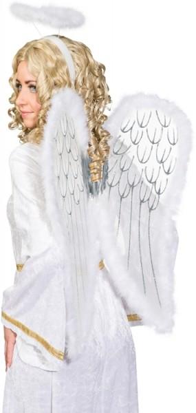 Fasching Weihnachten Engel-Set mit Marabubesatz in silber o. gold