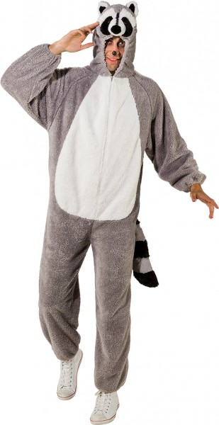Fasching Kostüm Erwachsene Overall Waschbär