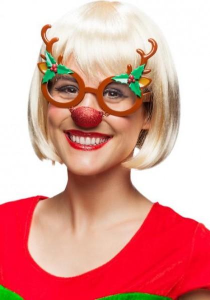 Fasching Weihnachten Brille Rentier mit Nase