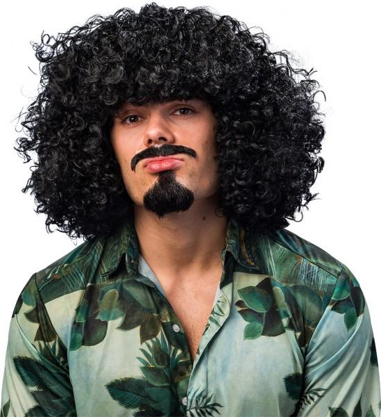 Fasching Perücke Afro Herren gelockt schwarz