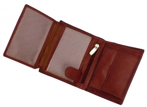 Kompaktes Damen Geldbörse Portemonnaie braun mit 14 Fächern - Echt Leder