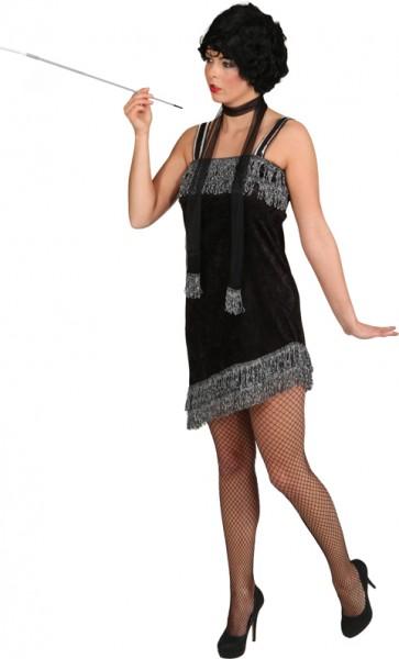 Charlestonkleid, schwarz-silber (Kleid, Schal) - Größe: 36 - 46