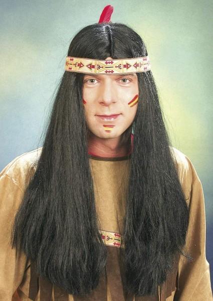 Perücke Herren Indianer lang mit beigen Band