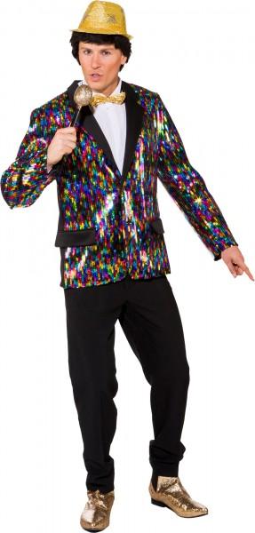 Fasching Herren Jacke Pailletten Disco bunt
