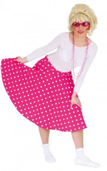 Rock 'n' Roll Rock rosa-weiß gepunktet - Größe: 34 - 42