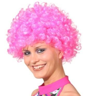 Faschingsperücke Hair, kleine Locke pink