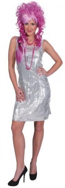 20er- Jahre Paillettenkleid, silber in den Größen 36 bis 44