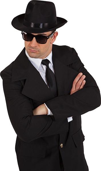 Faschingshut Hut Blues schwarz mit Brille