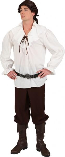 Fasching Kostüm Herren Piratenhemd creme-weiß