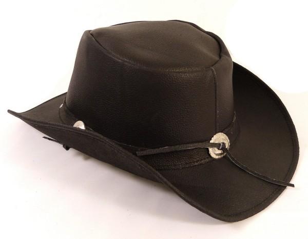 Echt Leder Cowboyhut Westernhut Schwarz - Mild Split Leather
