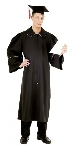 Faschingskostüm Herren Abschlußkostüm mit Ärmeln und Kappe - schwarz-blau - 100% Polyester PWW - Gr.