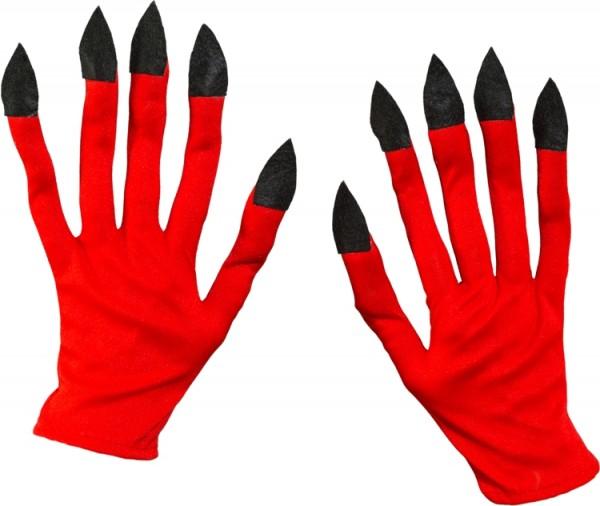 Fasching Halloween Handschuhe Teufel rot