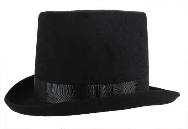 Zylinder, schwarz mit Ripsband und eingenähtem Hutband - KW 57, 59, 61 - 100% Polyester Wollfilzopti