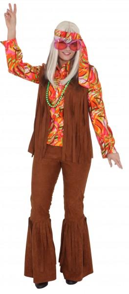 Hippie Weste, braun mit Fransen - Größe: 36/38 - 44/46