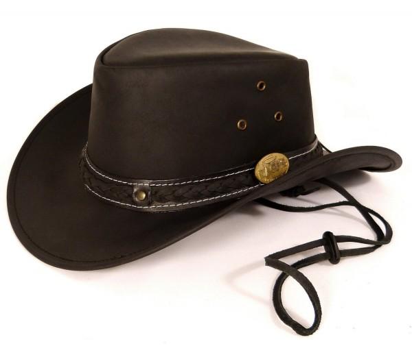 Echt Leder Cowboyhut Westernhut - Black Skipper