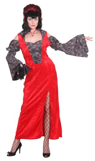 Faschingskostüm Damen Kleid Red Spider Lady - Gr. 36/38-48/50 - 100% Polyester