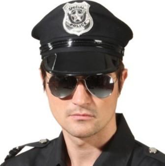 Faschingshut Amerik. Polizeimütze schwarz
