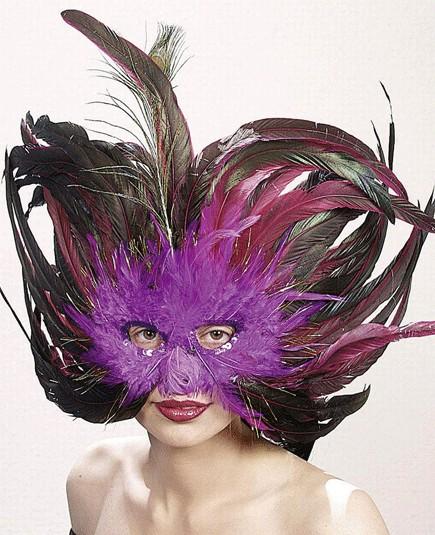 Faschings Feder Maske - Farbe: lila-braun