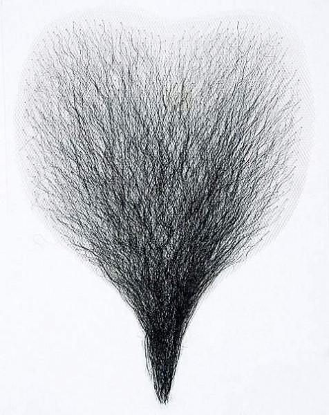 Brusthaartoupet, fein, in den Farben schwarz oder blond