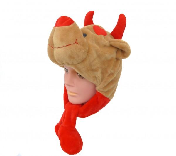 Plüsch Mütze Bär Teufelchen mit Zöpfen 55 cm