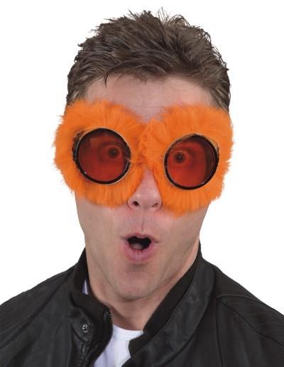 Faschingszubehör Brille mit Fell orange o. pink