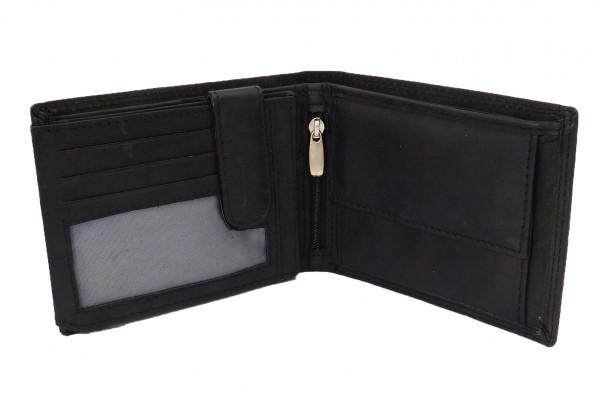 Herren Portemonnaie / Geldbörse schwarz mit 19 Fächern - Echt Leder