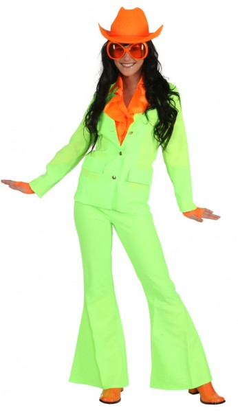 Neon Anzug, neon-grün (Jacke, Hose) - Größe: 34 - 44