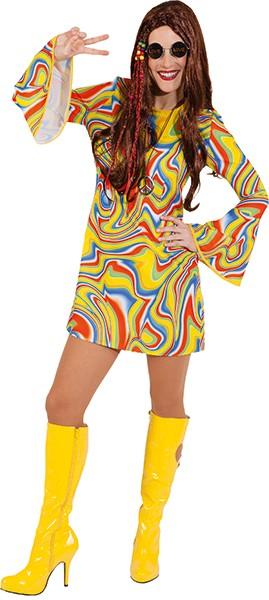 Kleid 70er mit Wellen - Größe: 34 - 42