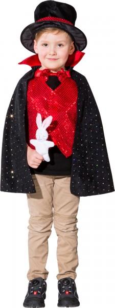Fasching Kostüm Kinder Zauberer - Umhang, Zylinder, Hase