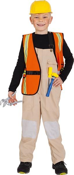 Bauarbeiter (Latzhose, Weste, Helm, Werkzeuge) - Größe: 104 - 140