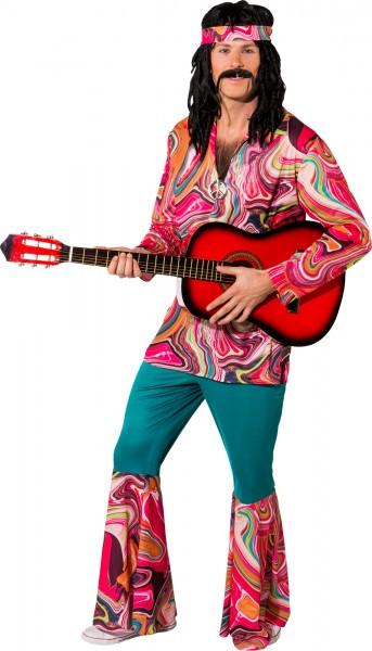 Faschingskostüm Herren Hippie Anzug - Hemd, Schlaghose, Tuch