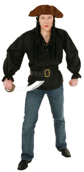 Fasching Kostüm Herren Piratenhemd schwarz
