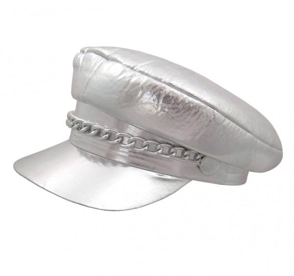 Bikermütze Rockermütze Ledermütze silber mit Kette - Kopfweite 57 cm