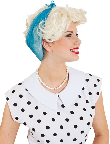Perücke Damen Emma, blond mit blauem Tuch