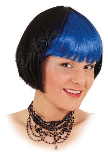 Faschingsperücke Damen Mona schwarz-blau