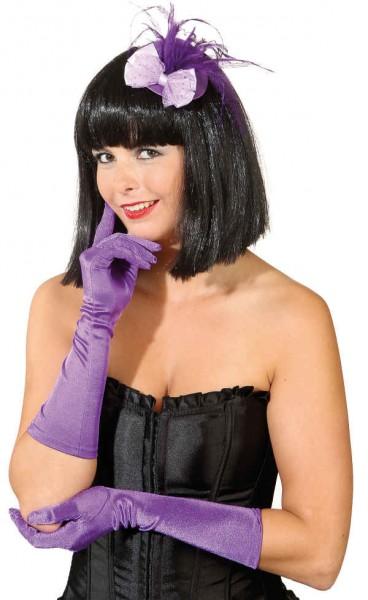 Satin-Handschuhe ca. 40cm lila