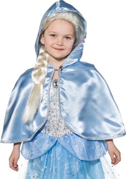 Fasching Kostüm Kinder Cape mit Kapuze hellblau - für Prinzessin