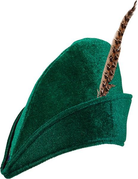Fasching Hut Robin grün mit Feder