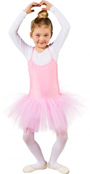 Fasching Kostüm Kinder Ballett Body mit festgenähtem Tutu rosa
