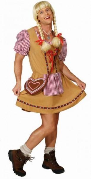 Fasching Kostüm Herren Dirndl mit Schürze braun