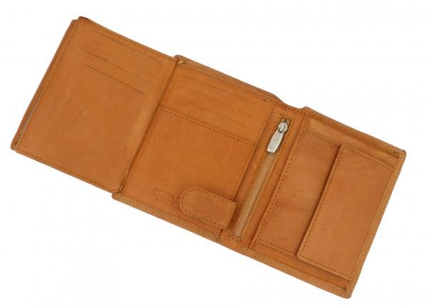 Herren Portemonnaie Geldbörse hellbraun mit 18 Fächern - Echt Leder
