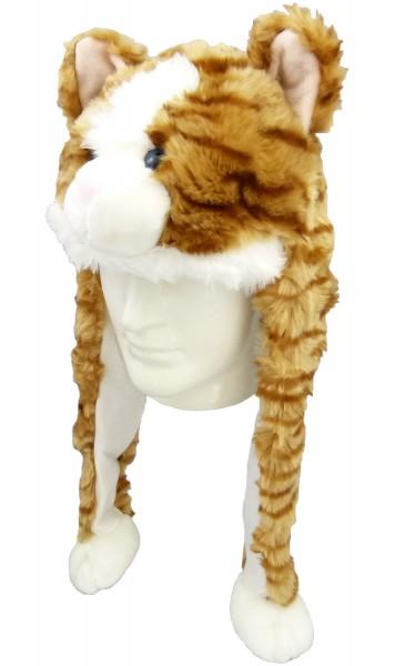 Plüsch Mütze Katze, inclusive Bommeln ca. 55 cm