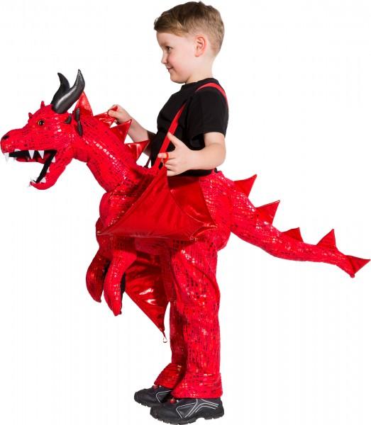 Fasching Kostüm Kinder Roter Drache - Kostüm zum Hineinsteigen unisize (3-5 Jahre)