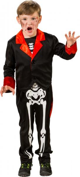 Fasching Halloween Kinder Frack Skelett - Frack, Overall mit aufgedrucktem Skelett