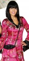 Faschingszubehör: Chinatasche, pink-schwarz Satin