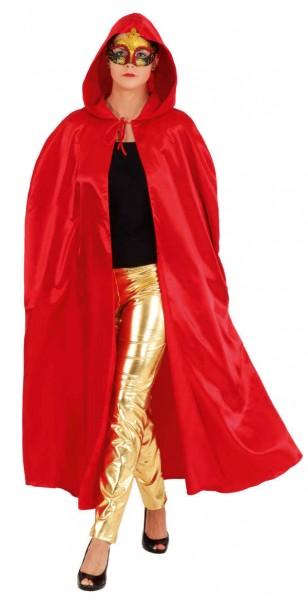 Satin-Umhang mit Kapuze, rot - Größe: Unisize